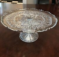 Antique Early Pressed Glass Cake Stand Circa 1890s