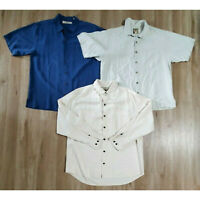 Tommy Bahama Mens Shirt Size Medium Lot of 3 Silk Blue Off White