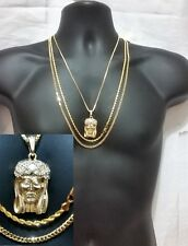 Cuban Link Rope Chain Necklace 3 Pc Jesus Hip Hop Gold Iced Out Pendant Crown