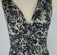 Ann Taylor Womens Medium Black Tan Silk Viscose Sleeveless Career Blouse Top