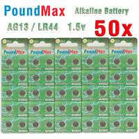 50 X PoundMax AG13 LR44 SR44 L1154 A76 1.5V ALKALINE BUTTON BATTERIES