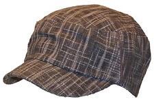 Mens Elastafit Cross Textured Military/Cadet Hat, Ballcap, Summer #1107 Brown