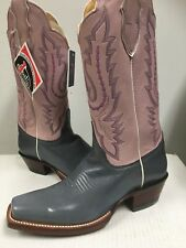 Justin Women's Western Leather  Boots  Pink Denim Pull-up  L2655 Size US 7 NEW