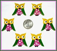 6 PC CUTE OWL RESIN FLATBACK HAIRBOW CENTERS RESINS FLAT BACK