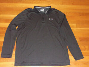 UNDER ARMOUR COLDGEAR 1/2 ZIP LONG SLEEVE BLACK/GRAY LOOSE PULLOVER MENS XL EXC.
