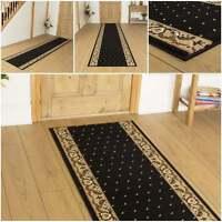 Pin Dot schwarz - Läufer Teppich Flur Matte für Halle extra lang preiswert neu