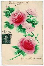 CPA Fantaisie Fête Roses carte relief
