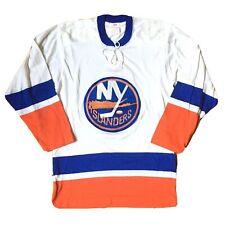 VINTAGE 1970s New York ISLANDERS DURENE CHAINSTICHED SK Sandow Hockey Jersey Lg