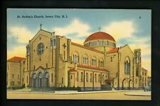 New Jersey NJ postcard linen Jersey City St. Aedan's Church Tichnor