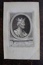 DAGOBERT ROI DE FRANCE . PORTRAIT, GRAVURE ORIGINALE , 1760