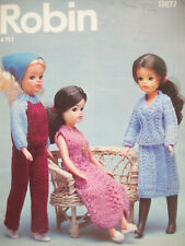 Sindy Dolls Clothes KNITTING PATTERN dress 4ply Height to 11.5 inch  Robin 13077