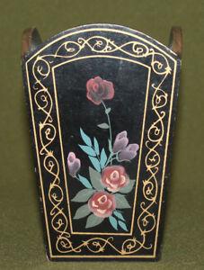 Vintage hand painted floral wood pen pencil holder