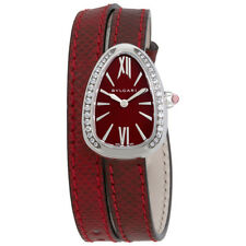 Bvlgari Serpenti Red Lacquered Dial Ladies Double Wrap Leather Watch 102780
