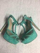 Aldo Women's Green Teal Leather Ankle Strap Stiletto Dress Heels Shoes Size 8 Mb