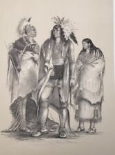 North American Indian,George Catlin,Native American Orig. Lithograph,Lim.Edition