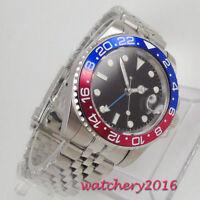 40mm PARNIS Date GMT LUME Saphirglas Edelstahl Automatisch Movement men's Watch