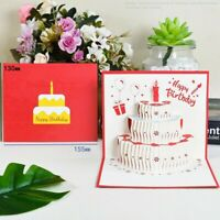 Birthday Gift Cake Card Pop Up 3D Greeting Cards With Envelope Handmade Card New