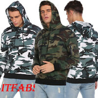 Men Hooded Hoodie Camouflage Coat Jacket Outwear Sweater Fit Jumper Pullover Top