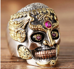 INDIAN GODDESS SKULL GOLD PLATED W/RUBY STONES  GOING OUT OF BUSINESS SALE!