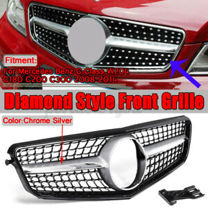 Diamond Style Front Grill Grille For Mercedes Benz C-Class W204 C300 C350 08-14