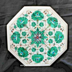 Side /End Table Top White Marble Antique Table Malachite stone Inlaid,Furniture