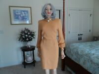 St John Soft Orange Embellish Knit Sheath Dress Size 4