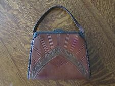 Antique Arts & Crafts Era Jemco Hand Tooled Leather Purse