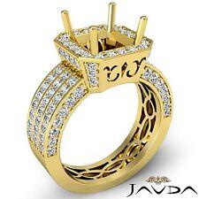 3 Row Diamond Engagement Princess 1.45Ct Semi Mount 14k Yellow Gold Halo Ring