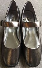 BNWT Girls Marks And Spencer Pewter Silver Strap Buckle Shoes Size Uk 4 Euro 37