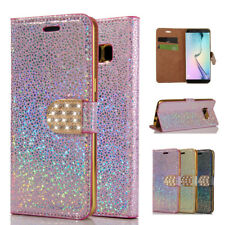Bling Diamond Leather Wallet Magnetic Flip Stand Case Cover For iPhone Samsung