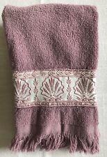 Vintage Saturday Knight Ltd Tea Towel Hand Towel Purple Embroidered Shell Ribbon