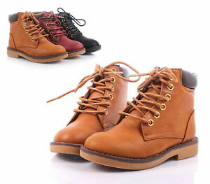 Camel Fashion Two Tone Style Lace Up Girls Combat Kids Ankle Boots Shoes Size 11