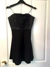 Sports girl Strapless Black dress Leather top - a line dress Size S