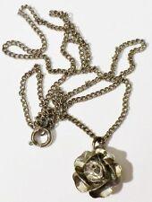 pendentif chaine bijou vintage rose relief couleur argent cristal diamant * 4699