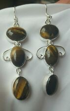 Stunning Dangle Earrings mustard and brown  stone work.