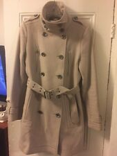 Burberry Brit Trench Coat Funnel Neck Wool Size 10