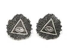 All Seeing Eye (Illuminati) Cufflinks, English Pewter, Handmade, Gift Boxed (h)