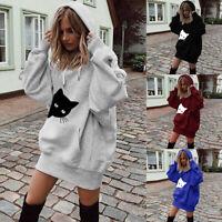 Womens Girl Winter Warm Cat Print Clothes Hoodies Pullover Coat Hoody Sweatshirt