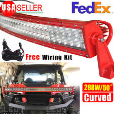 "RED 288W Curved 50"" Combo Offroad Work LED Light Bar Driving DRL 4WD+Wiring"