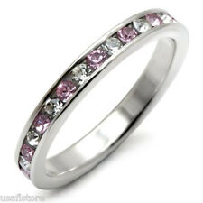 Light Amethyst & Clear Stones .925 Sterling Silver Eternity Ring Size 7