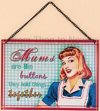 Rétro Vintage Mamans Sont Comme Boutons Support Métallique De Tenture Plaque