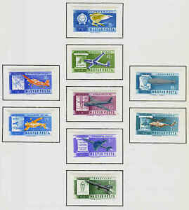 HUNGARY 1962 AIR TRANSPORTATION PERF. & IMPERF.