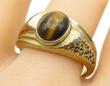925 Silver - Vintage Tiger's Eye Gold Plated Textured Cocktail Ring Sz 13- R8494