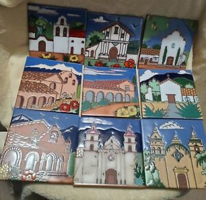LOT OF 9 PACIFIC BLUE & PURSA & TRITON CALIF MISSIONS HAND PAINTED ART TILES