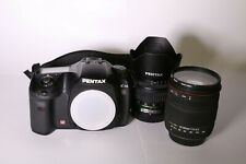 Pentax K10D DSLR 18-55mm + 18-200mm lens, flash, cable release, battery, charger