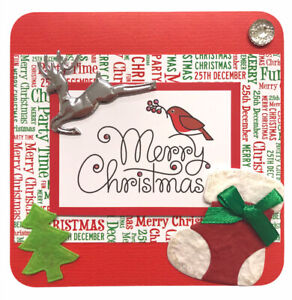 """1 x Hand Made CHRISTMAS Topper For Card Making Red+Green 3D - 10.5cm 4"""" (B208)"""