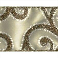 Gold Sparkle Swirl Ivory Satin Fremada Wide Wired Ribbon 25 yards NEW wedding