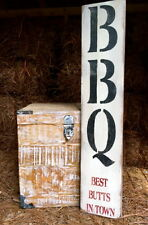 """Large Rustic Wood Sign - """"BBQ Best Butts In Town"""" - Vertical - 3 Feet!"""