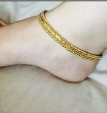 Plated Anklets - Pazeb 1 Pair Valentine Special Indian Bollywood Style 1% Gold