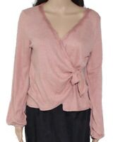 Blu Pepper Pink Size Large L Junior Knit Top Faux Wrap Lace Trim $42 #562